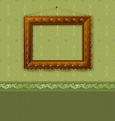 wooden picture frame on the wall with wallpaper vector image vector image