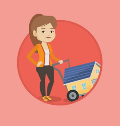 young woman buying house vector image