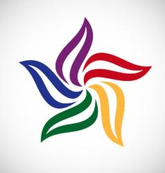 circle leaf color logo vector image vector image