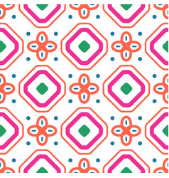 geometric mediterranean coral red and white vector image vector image