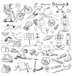 Hand drawn about healthy lifestyle on white vector image