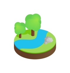 River in a summer forest isometric 3d icon vector image vector image
