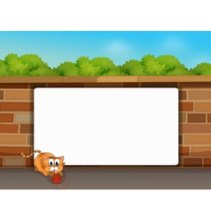 A cat and a white board vector image vector image