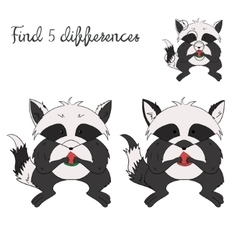 Find differences kids layout for game raccoon vector image vector image