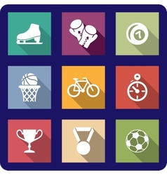 Flat sporting icons set vector image vector image