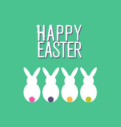 happy easter funny rabbit greeting card design vector image vector image