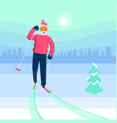 old man skier vector image vector image