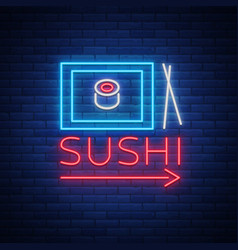 sushi logo in neon style bright neon sign with vector image