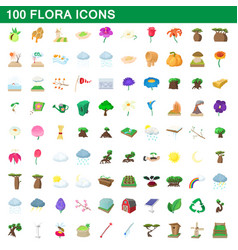 100 flora icons set cartoon style vector