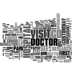 A visit to a doctor text word cloud concept vector