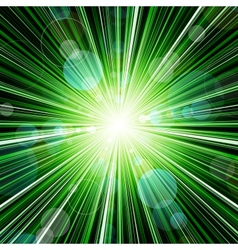 Abstract green striped burst background vector image