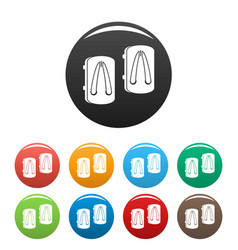asian slippers icons set color vector image