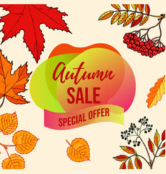 Autumn sale background with falling leaves vector