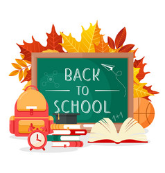 back to school lettering chalkboard vector image