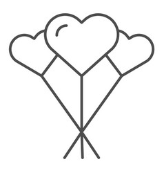 balloons like heart thin line icon love balloons vector image
