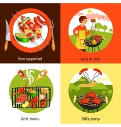 Barbecue party 4 flat icons square vector