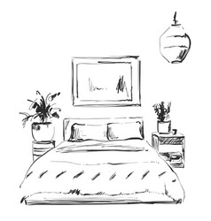 Bedroom modern interior sketch hand drawn vector