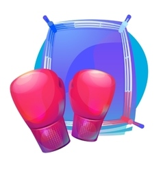 Boxing protective gloves on top of ring with vector