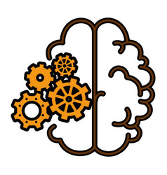 Brain with gear wheels icon vector