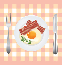 breakfast plate with egg and bacon vector image