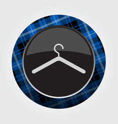 Button with blue black tartan - hanger icon vector