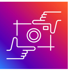 Camera icon photography logo and hands vector