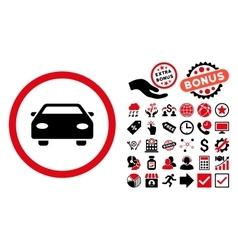 Car Flat Icon with Bonus vector image vector image