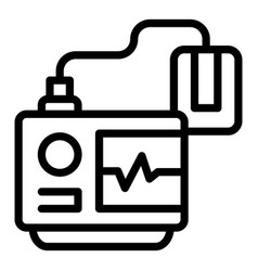 Cardiac defibrillator icon outline style vector