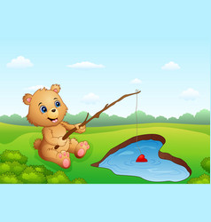cartoon bear fishing in a heart-shaped vector image