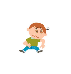 Cartoon character boy sick vector