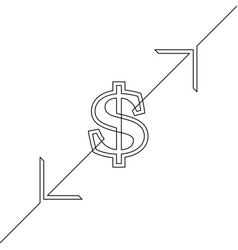 continuous line drawing dollar sign vector image