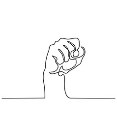Continuous line drawing of fist vector