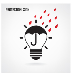Creative lamp bulb and protection concept vector