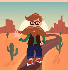 cute gentleman hipster cartoon character with vector image