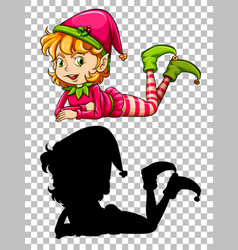 cute girl elf and its silhouette vector image