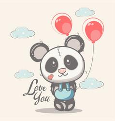 cute panda with balloons vector image