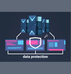 data protection computing center with hosting vector image