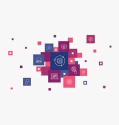 Digital transformation infographic 10 steps pixel vector