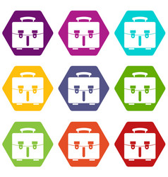 Diplomat bag icon set color hexahedron vector