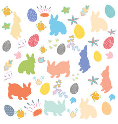 easter bunny flowers and decorated eggs background vector image