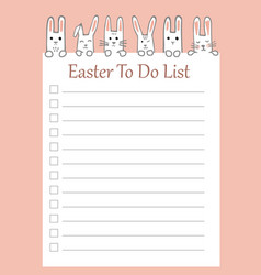 easter to do list with funny bunnies vector image