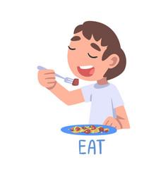 Eat word verb expressing action children vector