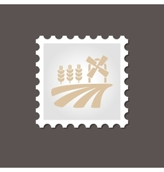 Field with a mill and wheat stamp Outline vector