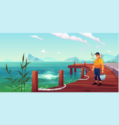 fisherman on pier seascape and hills background vector image