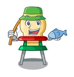 fishing cartoon baby sitting in the highchair vector image