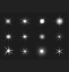 flares and sparkling stars effect white light vector image