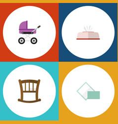 Flat icon child set of napkin infant cot vector