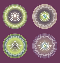 Four options glowing lotus signs in purple and vector