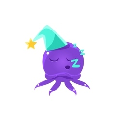 Funny Octopus Sleeping Emoji vector