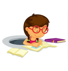 Girl doing schoolwork vector image